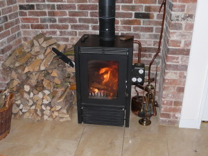 The logburner in use
